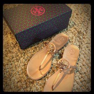 Tory Burch Mini Miller Sandal in Rose Gold, Size 8